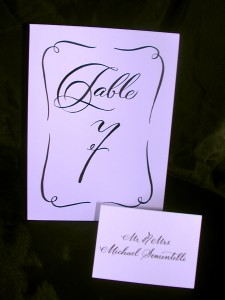 Hand Lettering, calligraphy, table number card, script lettering, cursive lettering, fancy lettering