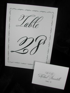 Belluccia font, calligraphy font, wedding font, script font, fancy font, cursive font, table number card in calligraphy, place card in calligraphy