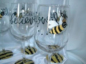 Calligraphy on wine glasses, painting on wine glasses, calligraphy, decorated wine glasses, Lettering Art Studio, Debi Sementelli,hand lettering, cursive font, script font, wedding font, fancy font