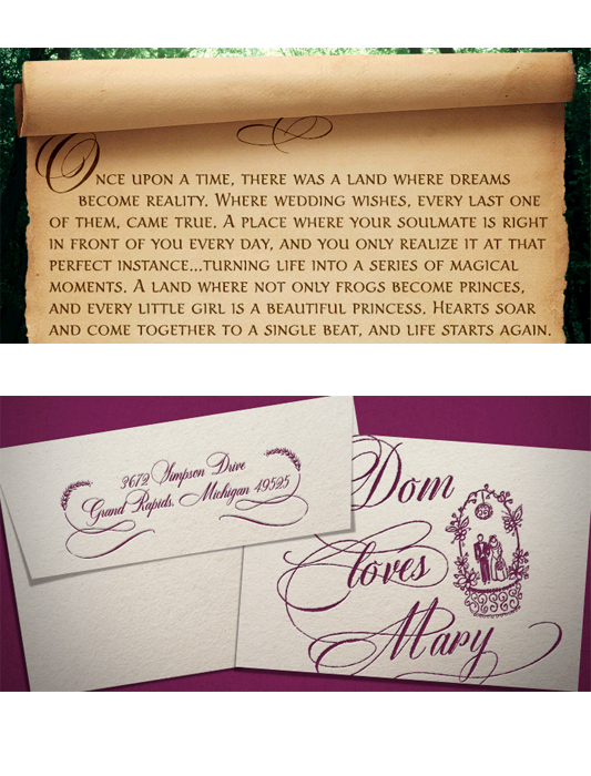 Dom Loves Mary Calligraphy font, wedding invitation, invitation with calligraphy fonts, blue and white wedding invitation, cursive fonts, script fonts, wedding fonts, calligraphy fonts, fonts for weddings, fonts for invitations, facny fonts, fancy letters, curvy fonts, curvy letters, whimsical fonts, DIY wedding invitations, most popular fonts, top selling fonts
