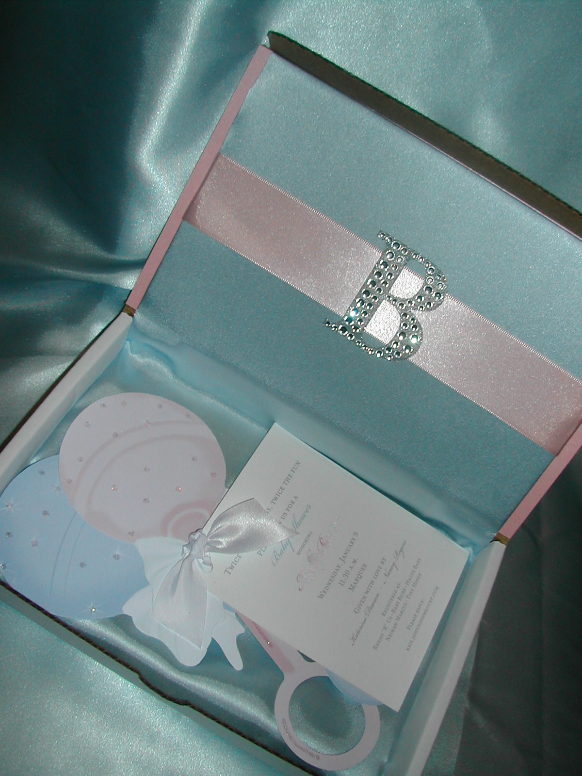 Boxed Baby Shower Invitation for Twins