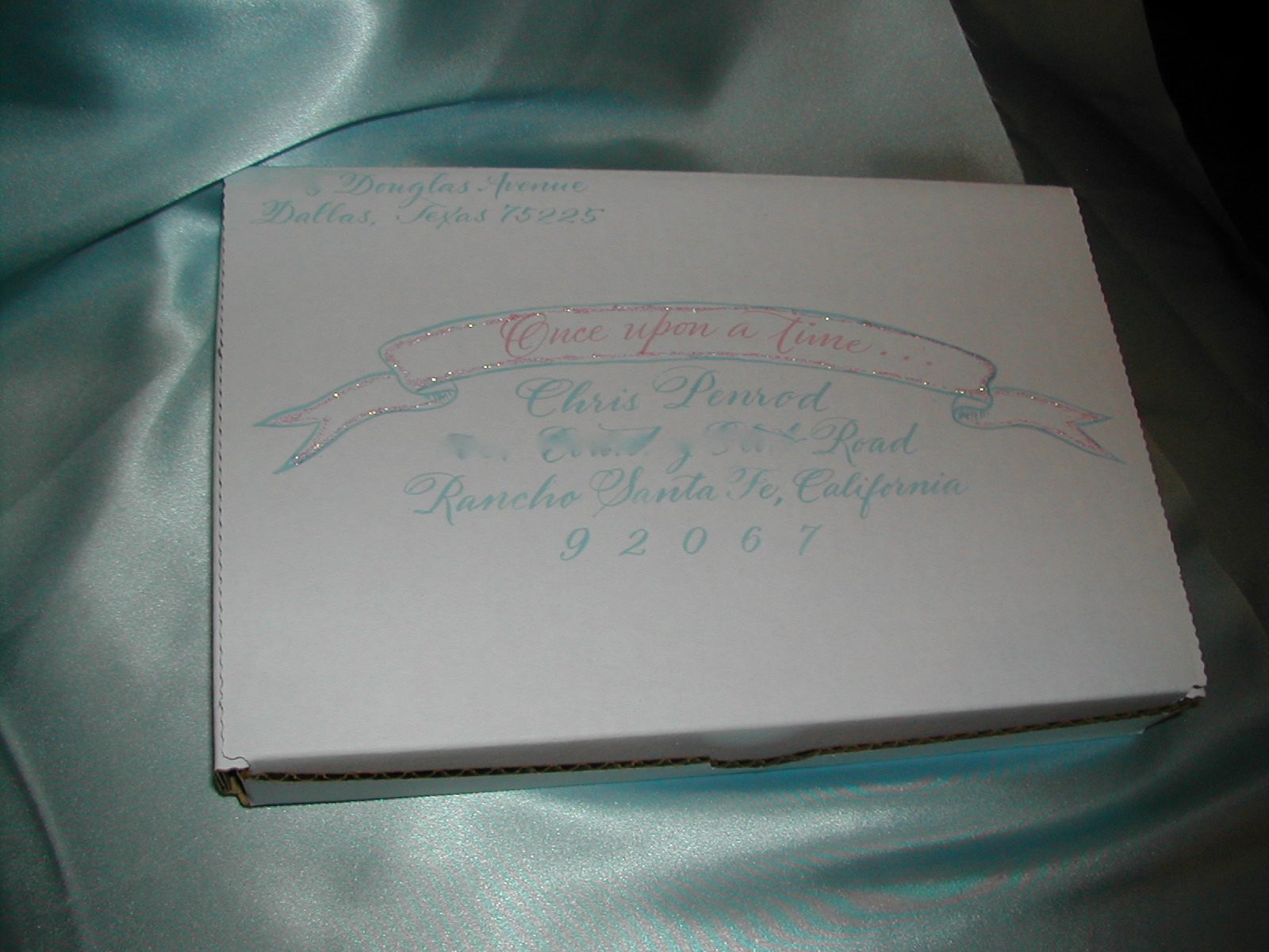 Calligraphy on boxed invitation, hand lettering, calligraphy on invitations, pink and blue calligraphy, baby invitation addressed in calligraphy