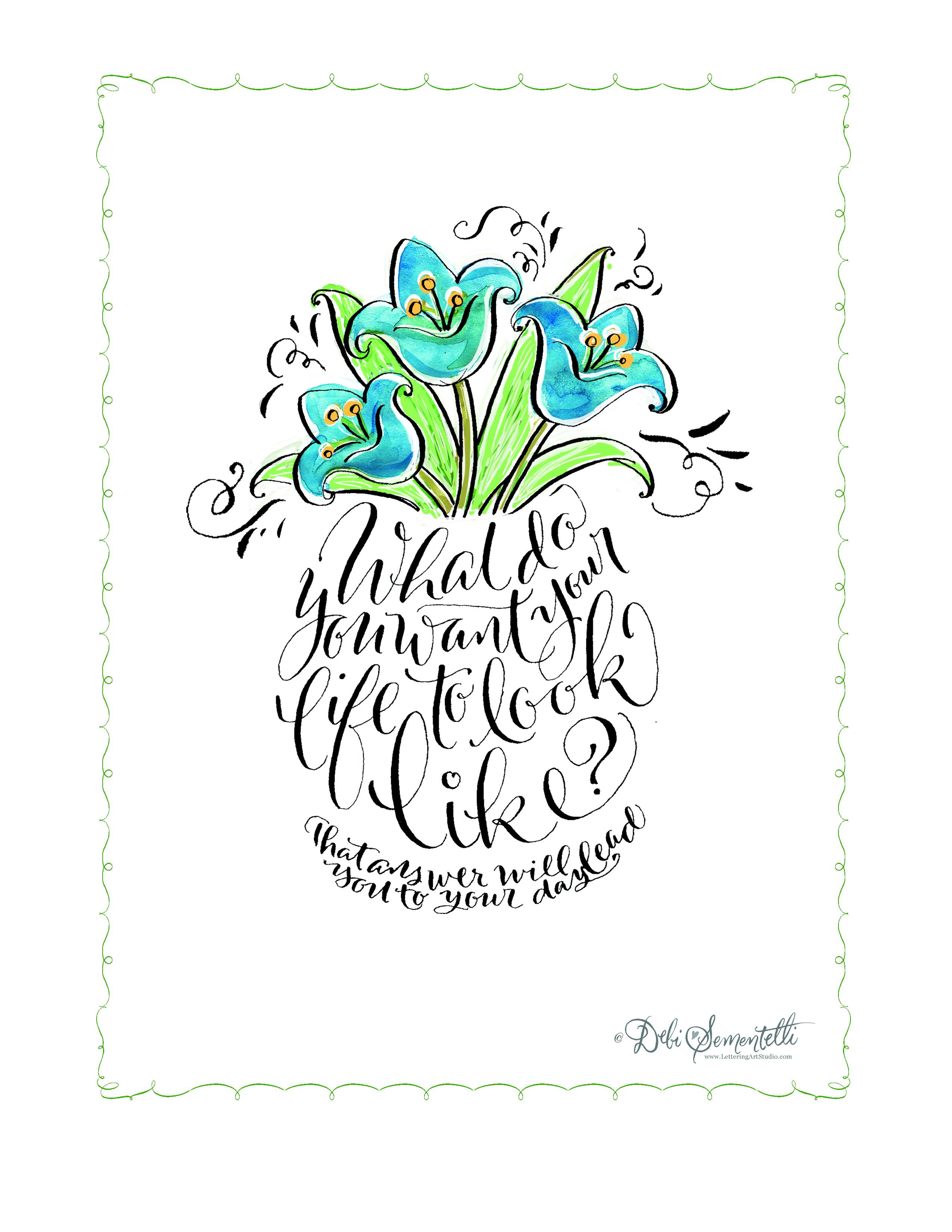 Free Calligraphy Floral Printables   Debi Sementelli