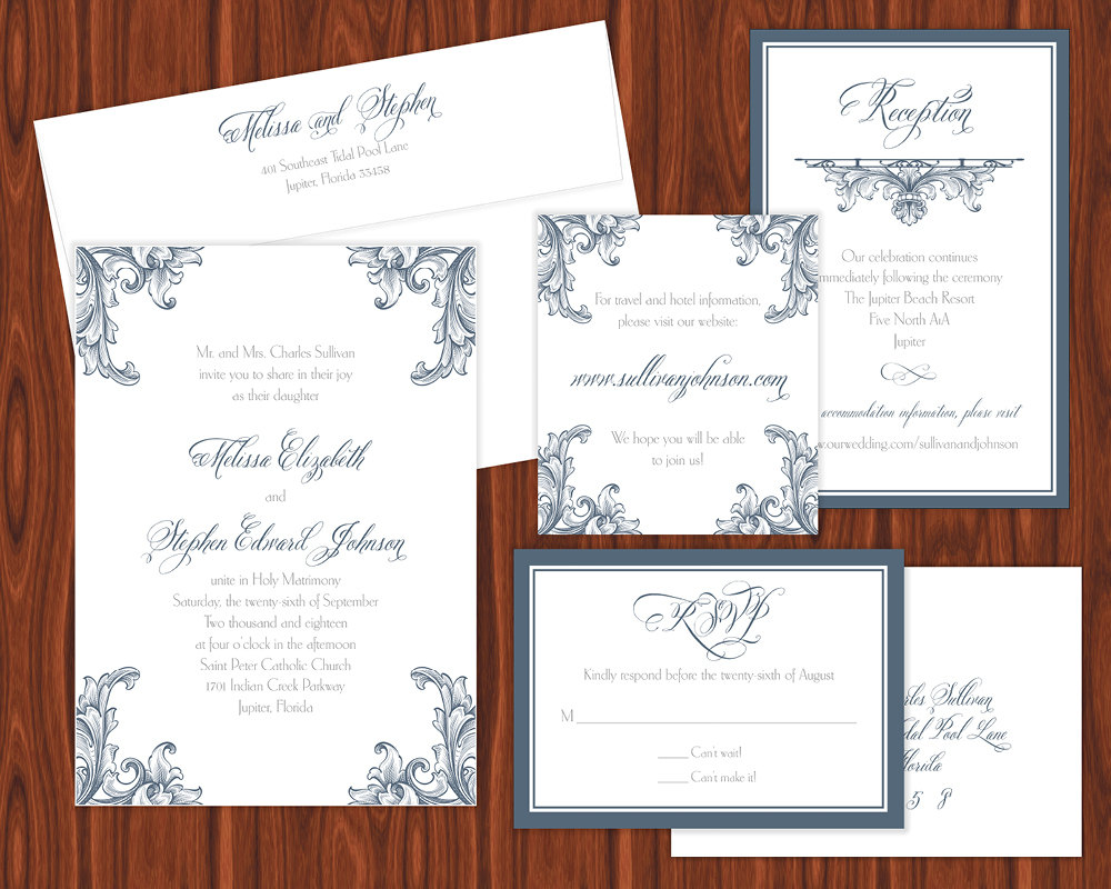 Blue and White Wedding invitation suite, belluccia font, wedding invitations, calligraphy fonts, script fonts, fancy fonts, fonts for weddings, wedding fonts, most popular fonts, top selling fonts, best selling fonts, curvy fonts, curvy letters, fancy letters, calligraphy, Debi Sementelli, Lettering Art Studio