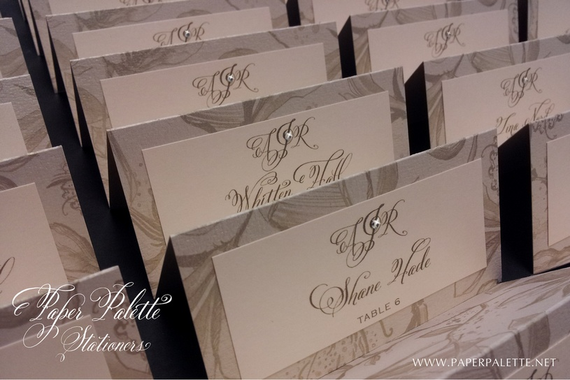 Place cards in calligraphy, belluccia font, wedding invitations, calligraphy fonts, script fonts, fancy fonts, fonts for weddings, wedding fonts, most popular fonts, top selling fonts, best selling fonts, curvy fonts, curvy letters, fancy letters, calligraphy, Debi Sementelli, Lettering Art Studio
