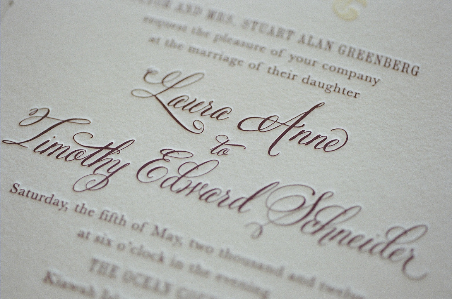 Letterpress Wedding Invitation with Belluccia Calligraphy Font by ...