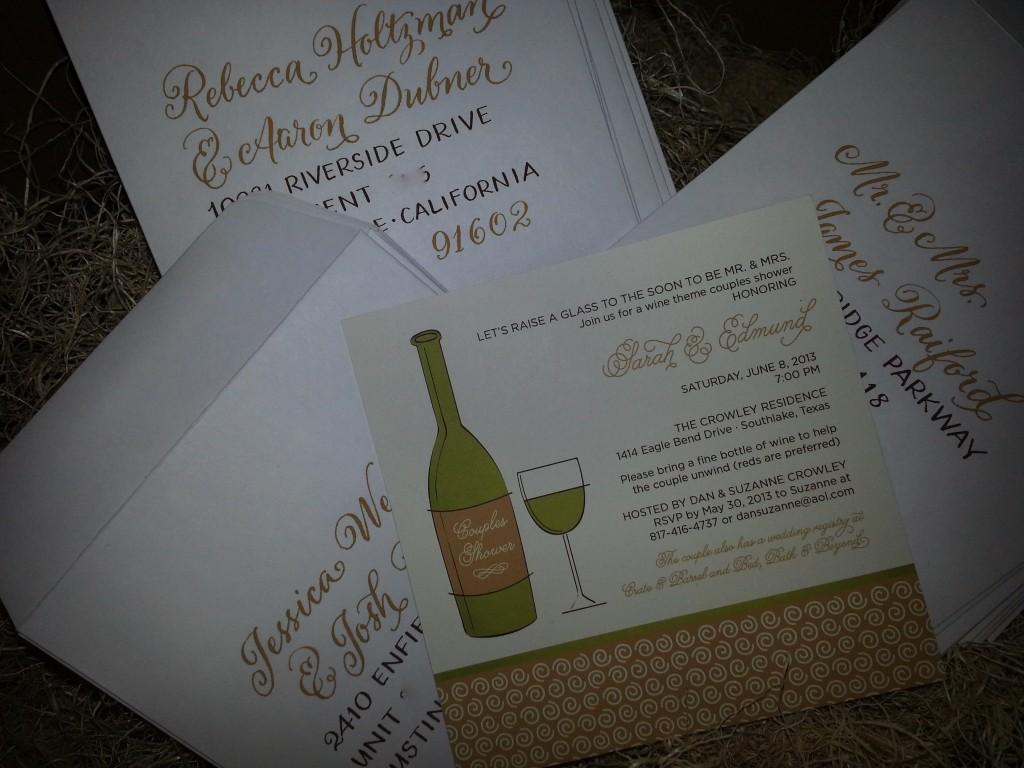 couples shower, couples bridal shower,  hand-lettered invitation, coordinated envelopes, hand lettering, Lettering Art Studio, Debi Sementelli