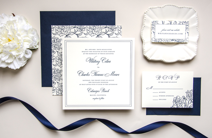 Posh Square Wedding Invitation Suite by KimberlyFitzSimons with Dom Loves Mary Calligraphy font by Debi Sementelli, Calligraphy font, Dom Loves Mary script font, wedding invitations, navy and white wedding invitations, best selling font, most popular fonts, top selling fonts, cursive fonts, fonts for wedding invitations, fonts for invitations, wedding fonts, DIY wedding, Belluccia calligraphy font,