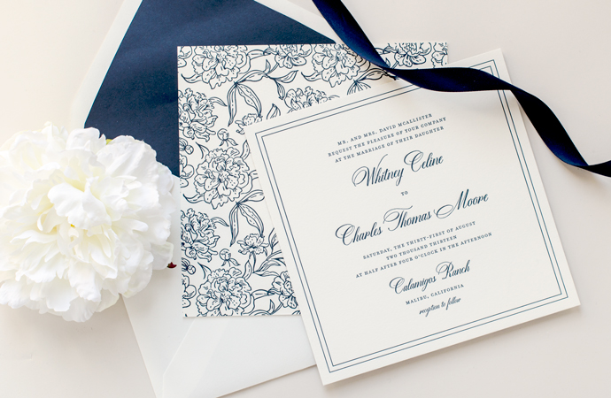 Dom loves mary calligraphy font on wedding invitation