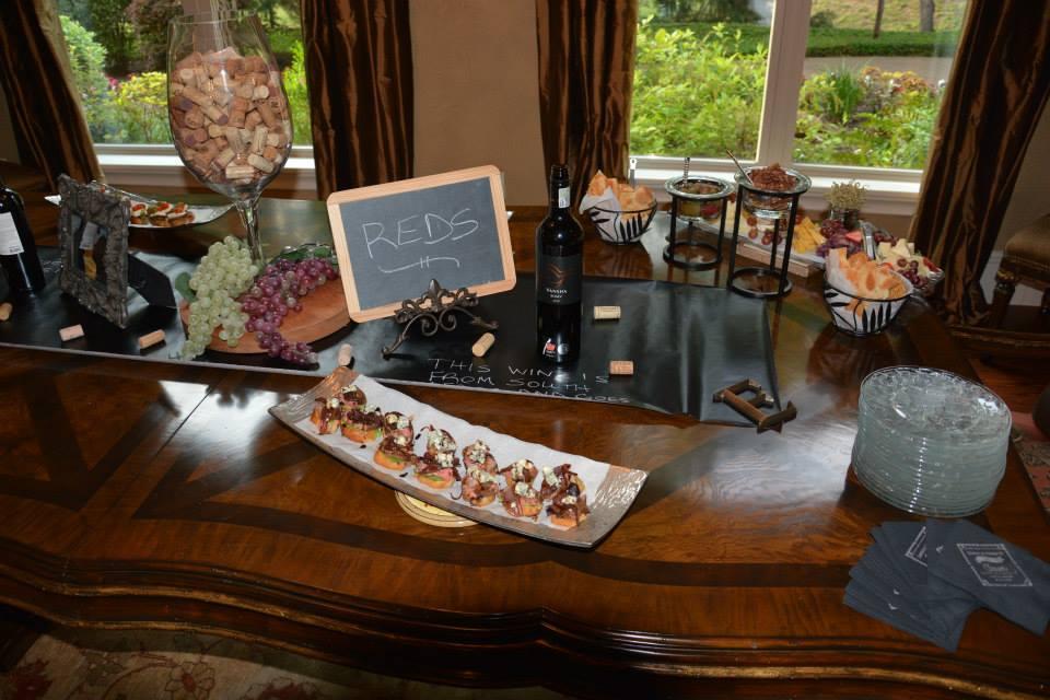 couples bridal shower,  chalkboard signs, wine themed bridal shower, food and wine display, hand lettering, Lettering Art Studio, Debi Sementelli