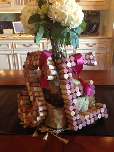 couples bridal shower,  initials made of wine corks, wine themed bridal shower, hand lettering, lettering art studio,debi sementelli