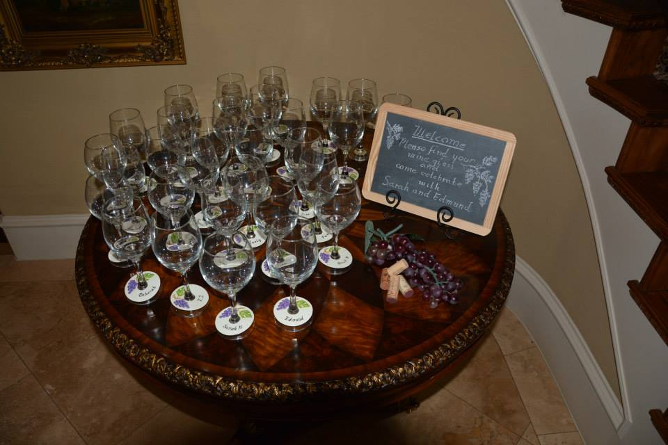 couples shower, couples bridal shower,  personalized name tags on wine glasses, chalkboard signs, hand lettering, Lettering Art Studio, Debi Sementelli