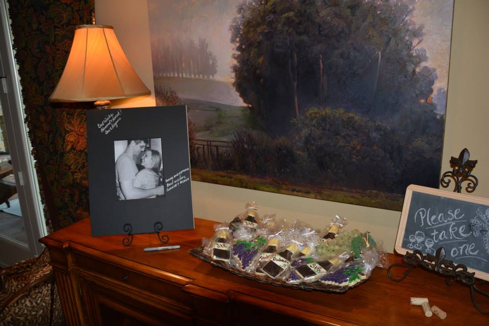 bridal shower,  chalkboard signs, wine themed bridal shower, cookie favors, wine bottle shaped cookies, grape bunch shaped cookies, hand lettering, Lettering Art Studio, Debi Sementelli