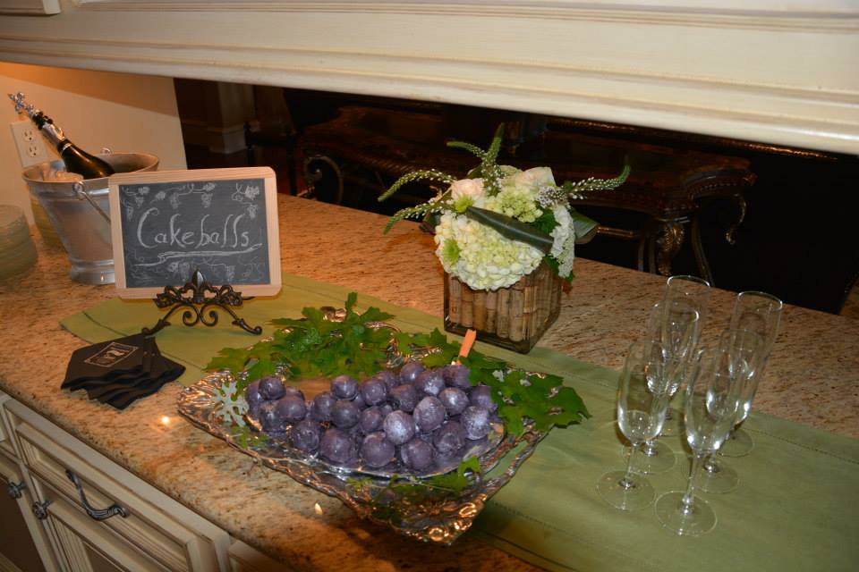 bridal shower,  chalkboard signs, wine themed bridal shower, cake balls, hand lettering, Lettering Art Studio, Debi Sementelli