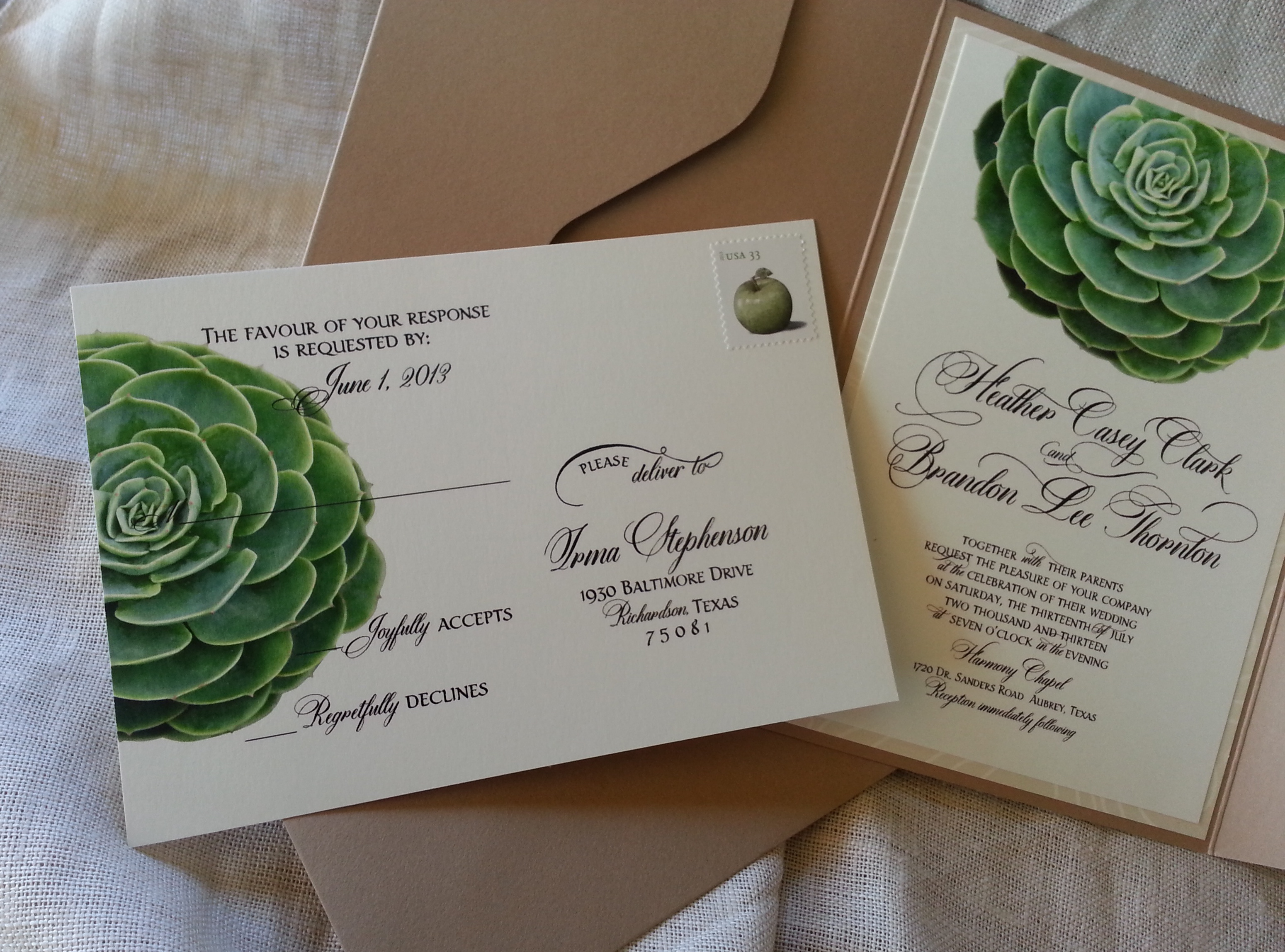 Kraft Pouch, Dom Loves Mary, Marsupial Papers, Succulent. Invitation Suite,  Dom