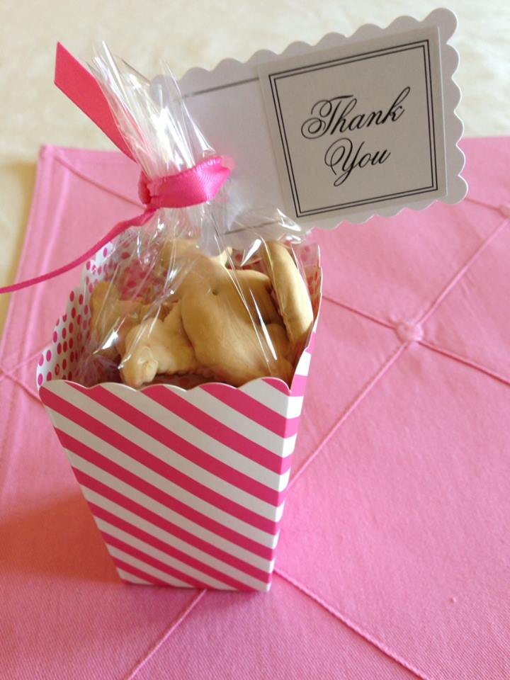 Debi Sementelli, Lettering Art Studio. party favor, animal cracker favor, birthday party, pink-themed birthday party