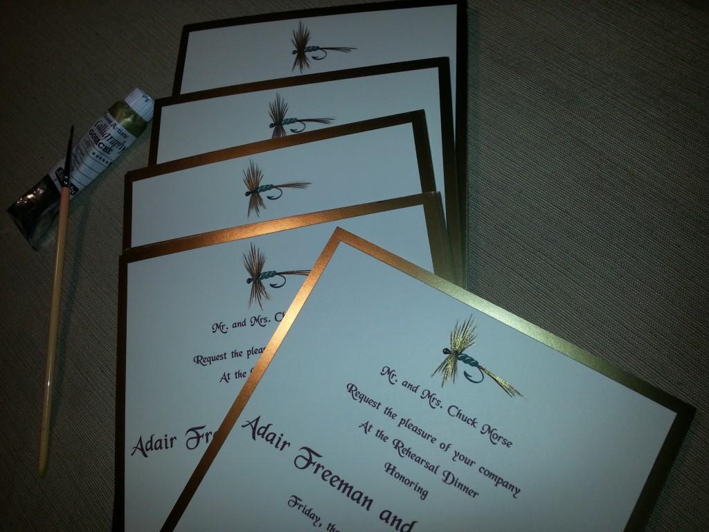 Rehearsal dinner invitation, fly fish invitation,fly fish illustration, Debi Sementelli, Lettering Art Studio, hand-painted invitation