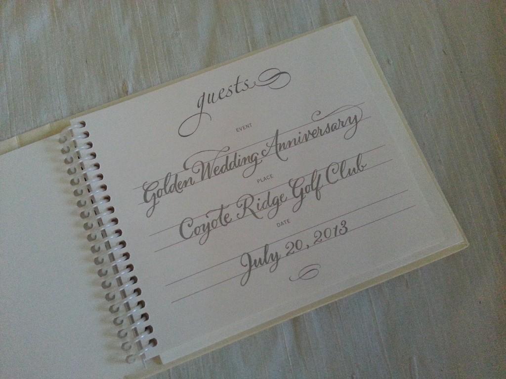 golden anniversary guest book, hand-lettering, Debi Sementelli, Lettering Art Studio, calligraphy, cursive writing,