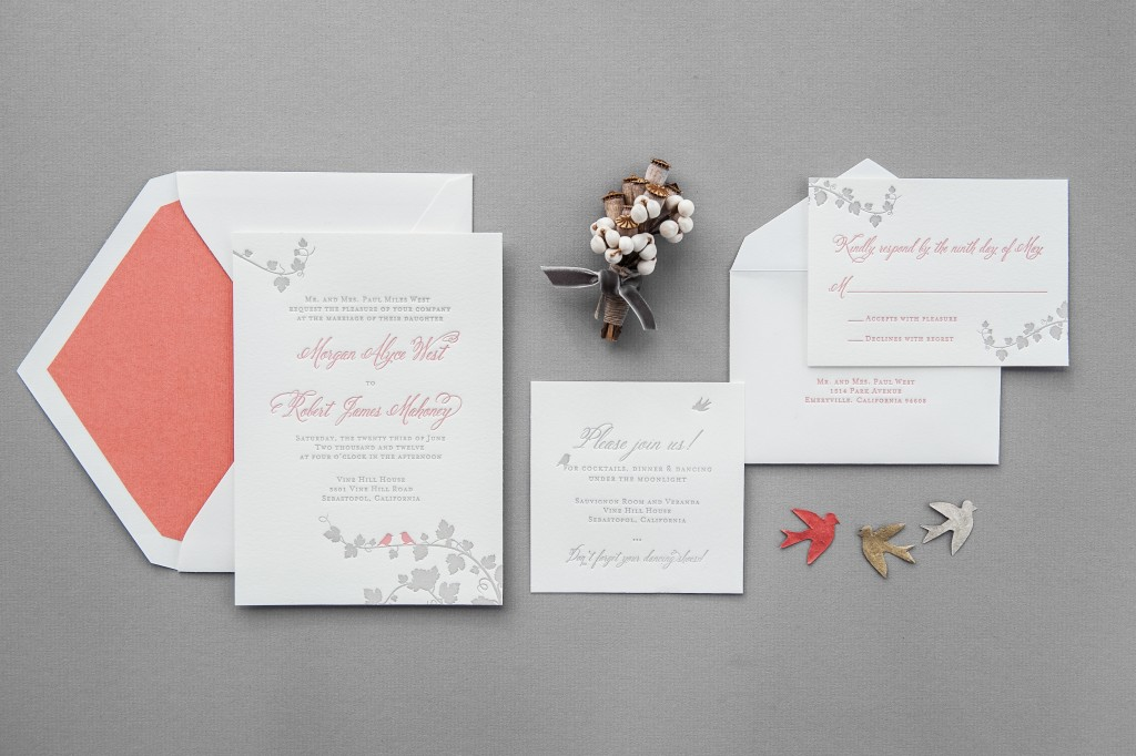 Aerialist Press. letterpress invitations. Vineyard Invitation, Coral and Gray themed invitation, belluccia font, calligraphy font, script font, cursive font, fancy font, calligraphy wedding invitation,letterpress wedding invitation suite, Wedding Invitation with calligraphy font,