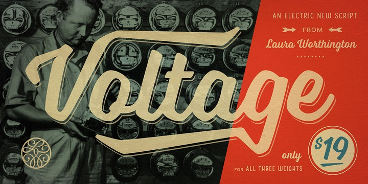 Voltage font, unique fonts, retro fonts, script fonts, funky fonts, Laura Worthington fonts, Hot New Fonts, Best Selling fonts, Electric fonts