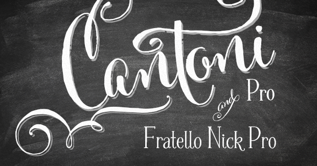 WEBSITE SPECIAL! Cantoni Pro Font & Fratello Nick Pro Bundle Preview